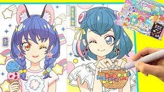スタートゥインクルプリキュアぬりえでメイク チャレンジ★ユニとララをおしゃれに変身させよう!Makeup Coloring with Cosmetics
