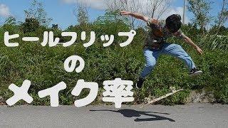 【スケボー】ヒールフリップのメイク率検証