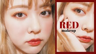 【Xmas🎄】RED mood Makeup,100均アイテムで冬メイク//makeup tutorial